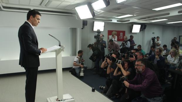 Pedro Sánchez, ayer, durante su comparecencia