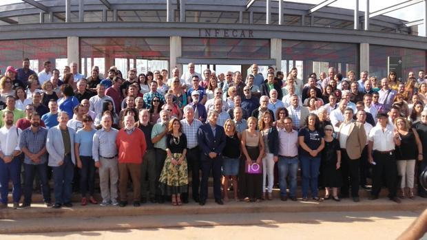 Dirigentes de Nueva Canarias y Podemos, este sábado, en la capital grancanaria