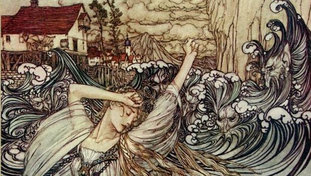 """""""Undine lost in Danube"""", ilustración de Arthur Rakham"""