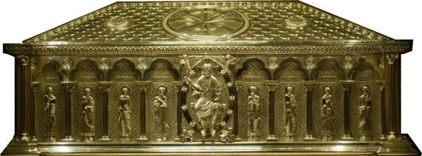 Urna en la que se veneran los restos del Apóstol Santiago en la Catedral compostelana