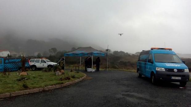 La unidad de drones de la Axega, durante la búsqueda de un desaparecido en Carnota