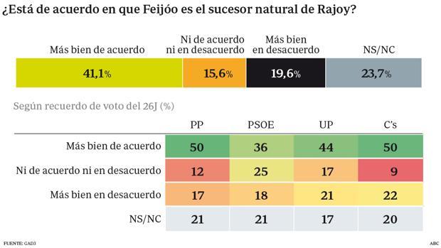 La mitad de los electores del PP ven a Feijóo como sucesor de Rajoy
