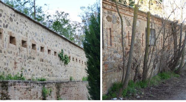 Vistas interior y exterior del muro defensivo en el costado derecho de la Fábrica