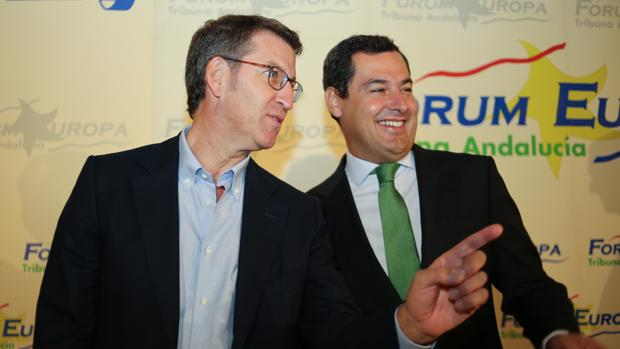 Alberto Núñez Feijóo y Juan Manuel Moreno, antes de un almuerzo informativo en Sevilla