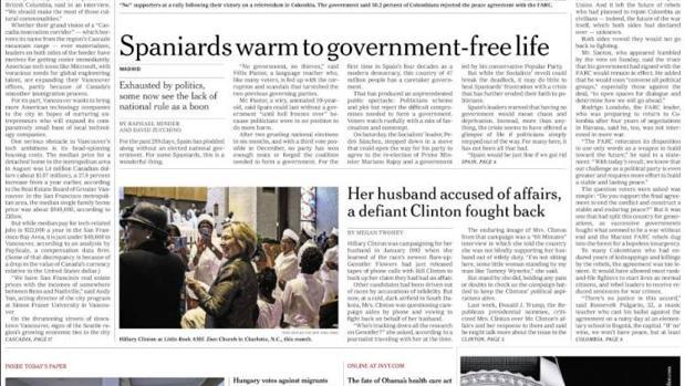 «Los españoles, receptivos a la vida sin gobierno» en la primera página de «The New York Times»