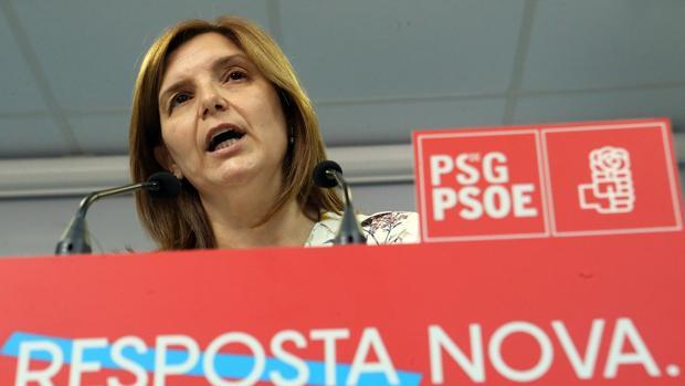 Pilar Cancela, ayer en la sede del PSdeG en rúa de O Pino, en Santiago