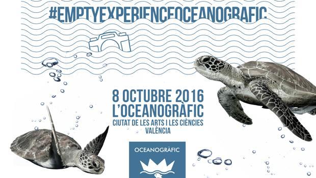 Cartel del movimiento #emptyexperienceoceanografic, en Valencia
