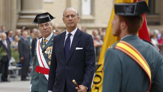 Arsenio Fernández de Mesa, en Zaragoza, durante la celebración de la patrona de la Guardia Civil