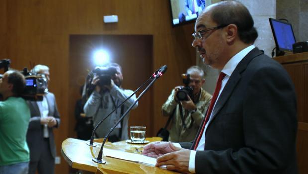 Javier Lambán, durante su discurso de este jueves ante las Cortes de Aragón