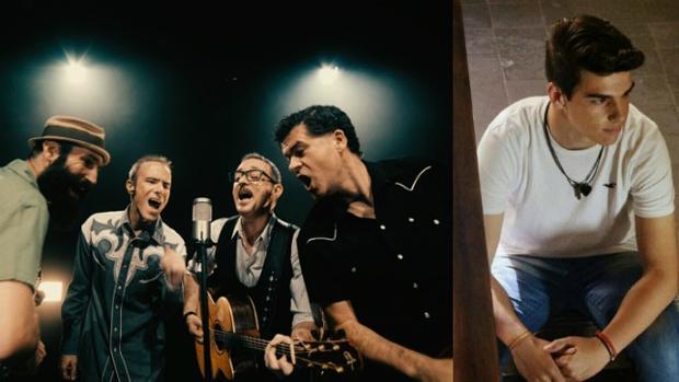 La banda «madrileña» Track Dogs y, a la derecha, César, con quien han colaborado en su primer álbum