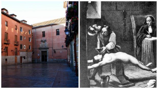 La plaza del Conde de Miranda; al lado, una tortura de la Inquisición a una mujer