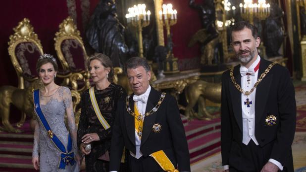 Cena de Gala ofrecida por los Reyes de España Felipe VI y Letizia Ortiz al Presidente de Colombia Santos