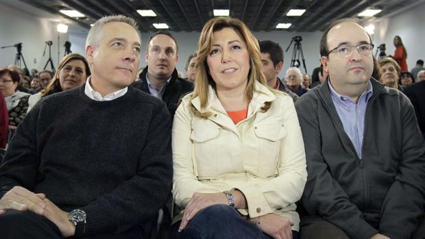 Navarro, Díaz e Iceta durante un acto de esta formación en L' Hospitalet de Llobregat