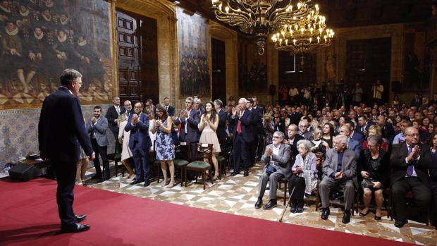 Imagen de Ximo Puig durante el acto institucional con motivo del 9 de octubre