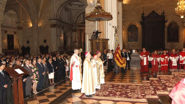 Durante el solemne Te Deum, esta mañana en los actos del 9 d'Octubre