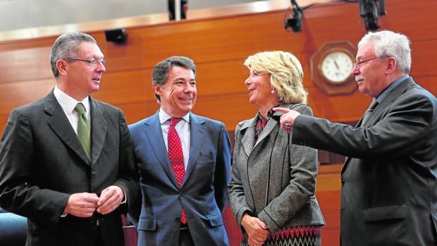 Gallardón, González, Aguirre y Leguina, en 2013 en la Asamblea