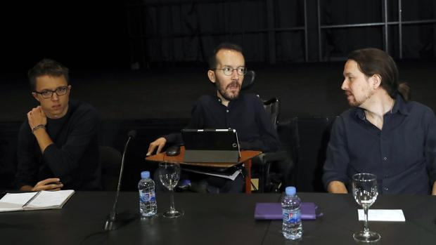 Íñigo Errejón, Pablo Echenique y Pablo Iglesias