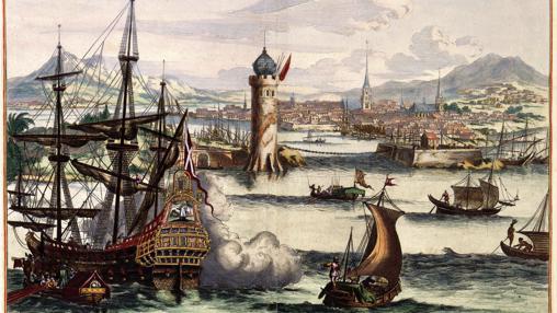 Grabado holandés del siglo XVII recreando una vista del puerto de La Habana