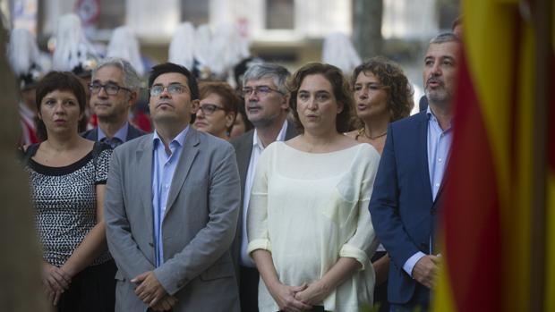 La alcaldesa de Barcelona, Ada Colau, durante los actos celebrados por la Diada de Cataluña