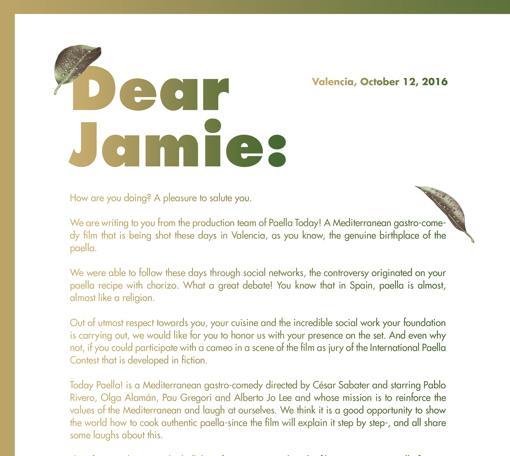 Imagen de la carta remitida a Jamie Oliver