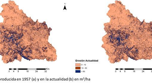 Mapas de la erosión en 1957 y en la actualidad