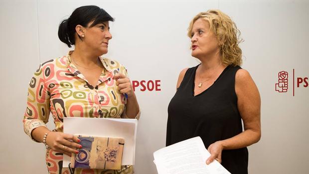 La diputada nacional Mar Rominguera (D) y la secretaria de Organización del PSCyL, Ana Sánchez