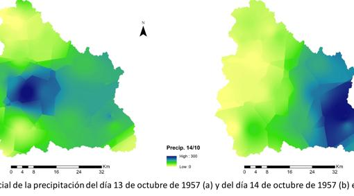 Distribución espacial de la precipitación del 13 y 14 de octubre de 1957