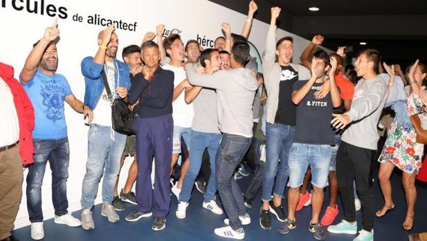 Los herculanos celebrando el resultado del sorteo para la Copa del Rey