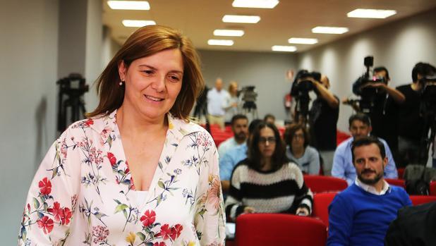 Pilar Cancela, en la sede del PSdeG en la rúa de O Pino