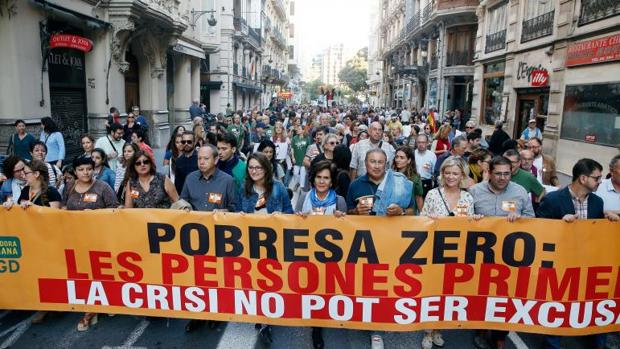 Un momento de la manifestación en la ciudad de Valencia