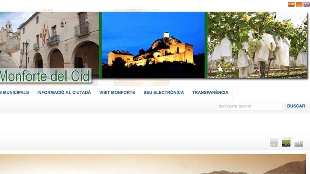 Pantalla principal de la web municipal de Monforte del Cid, con la bandera catalana en la esquina superior derecha