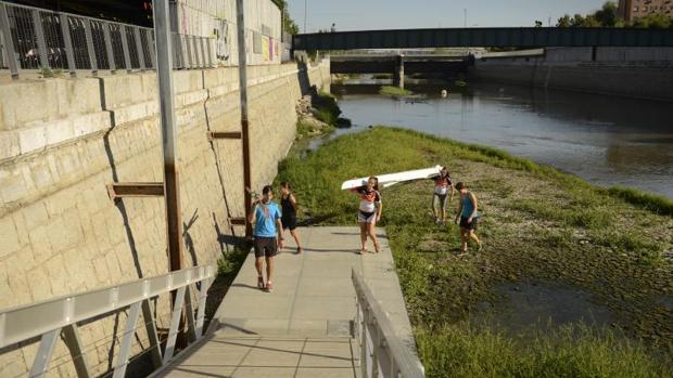 Las aperturas de las presas del Manzanres han provocado la sequedad del río y que no puedan entrenar los remeros
