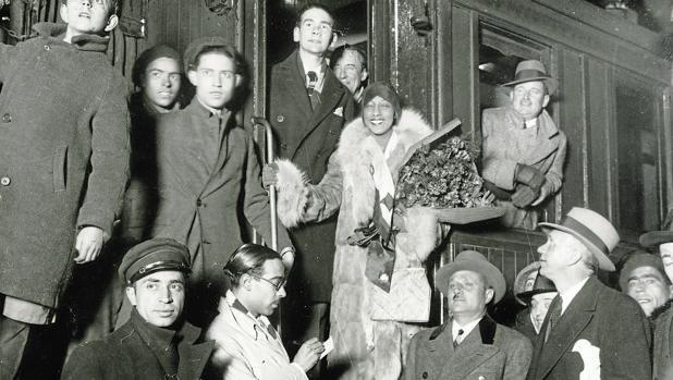 Josephine Baker, a su llegada a la madrileña Estación del Norte, en 1930