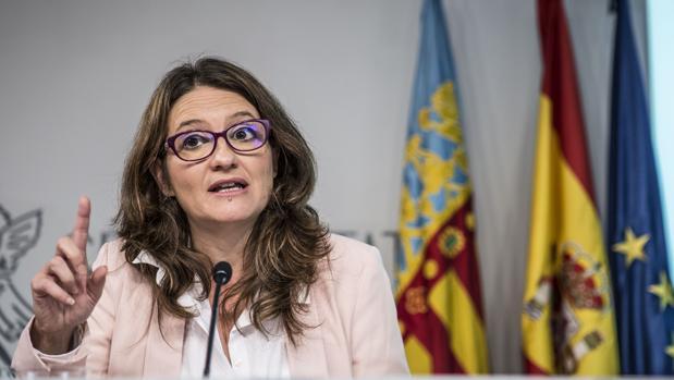 Mónica Oltra, en una rueda de prensa del Consell, en una imagen de archivo
