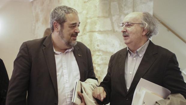Carlos Aganzo y Antonio Colinas, este lunes en Salamanca