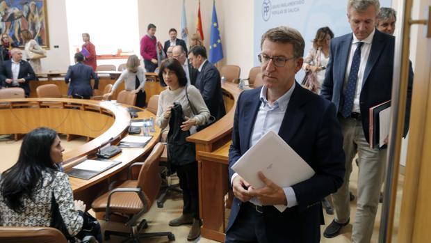 El presidente de la Xunta y del grupo parlamentario del PP, Núñez Feijóo, ayer