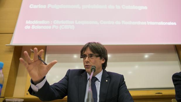 Puigdemont. durante su reciente conferencia en París