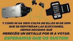 Un sindicato de la Policía Municipal regala gafas de realidad virtual y cascos bluetooth a cambio de votos