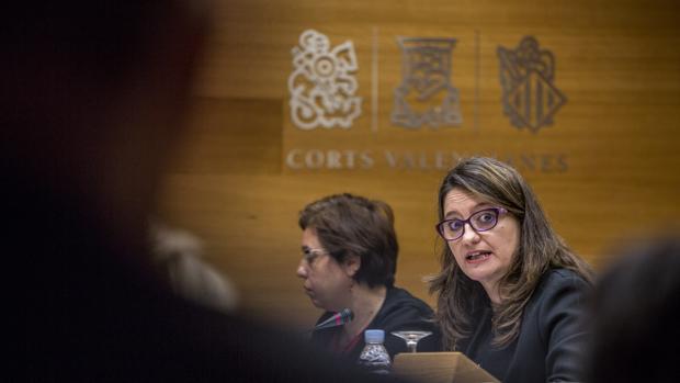 Mónica Oltra, ayer, durante su comparecencia en la comisión