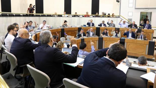 Votación en el Pleno de la Diputación alicantina
