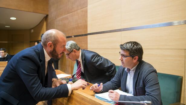 Imagen de Gaspar y Rodríguez durante un pleno de la Diputación de Valencia
