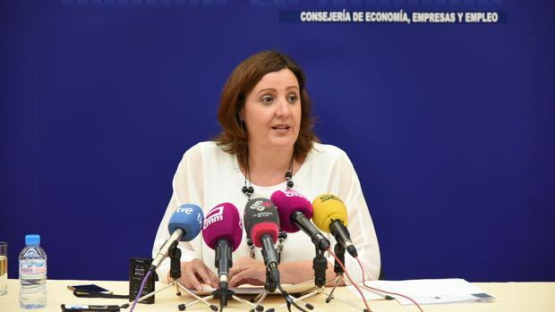 La consejera de Economía, Empresas y Empleo, Patricia Franco, durante el anuncio de las empresas ganadoras