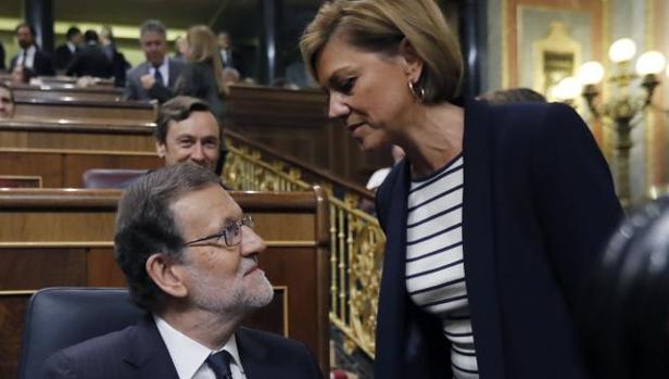 Rajoy y Cospedal, en la sesión de investidura en el Congreso