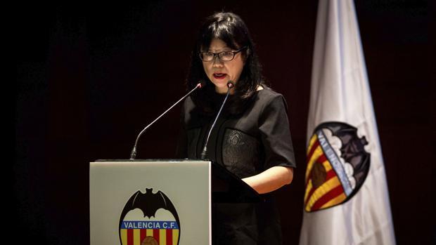 Imagen de la presidenta del Valencia durante su intervención