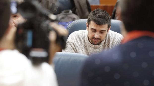 Ramón Espinar, en la Asamblea de Madrid en el último pleno