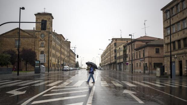 Lluvia, este sábado, en la ciudad de Salamanca