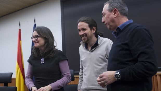 Imagen de archivo de Mónica Oltra, Pablo Iglesias y Joan Baldoví