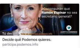 Cifuentes critica a Espinar que utilice su imagen en las primarias de Podemos