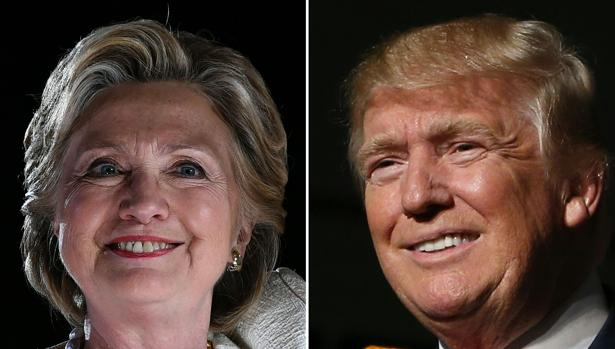 A la izquierda, Hillary Clinton; a la derecha, Donald Trump