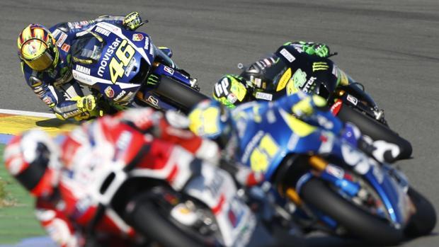 Imagen de una carrera de moto GP en Cheste, hace un año